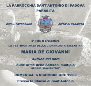 Locandina testimonianza  Maria De Giovanni (6 dicembre ore 19 - Parrocchia Sant'Antonio Parabita ) - Copia