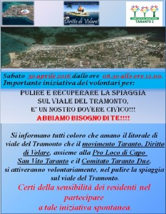 locandina per pulizia di viale del Tramonto il 30 aprile 2016