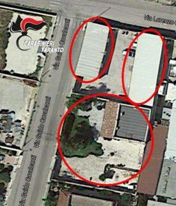Foto dall'alto della villa , garages e box sequestrati